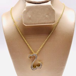 EUC 14K Yellow Gold Open Hearts Diamond Necklace